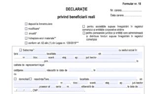 Declaratie privind beneficiarul real